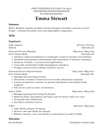 Sales Support resume template Virginia