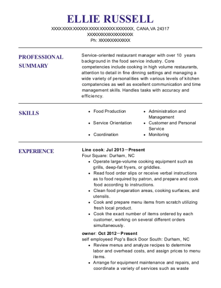 Line Cook resume example Virginia