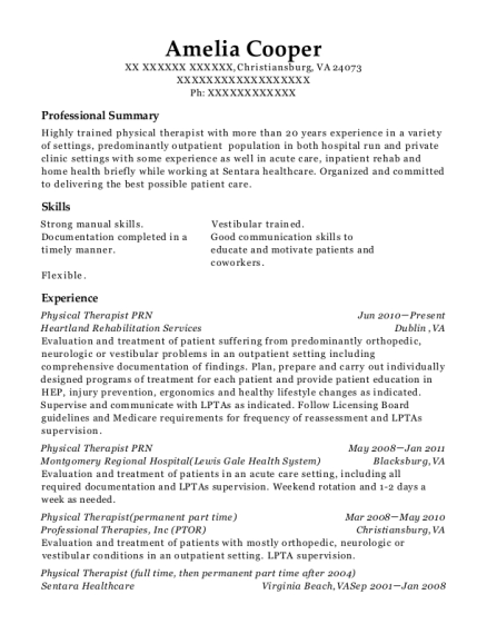 Physical Therapist PRN resume sample Virginia