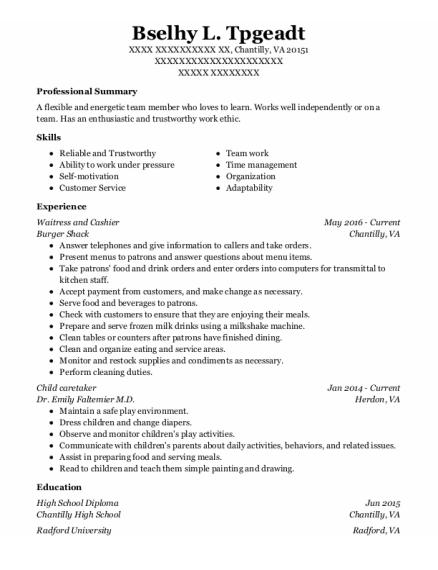Waitress And Cashier resume template Virginia