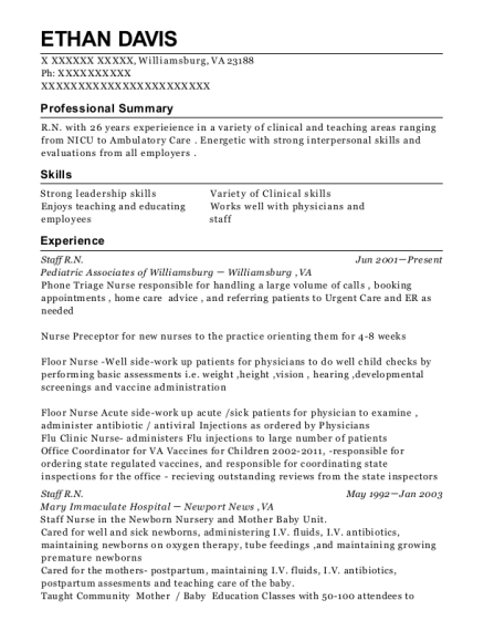 Staff RN resume example Virginia