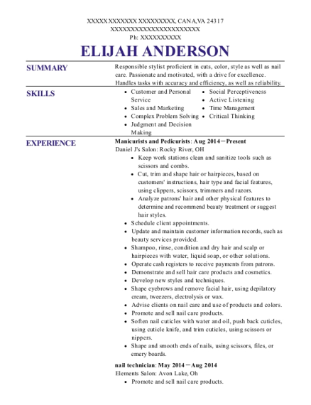 Tips To Toes Salon Nail Tech Resume Sample Resumehelp