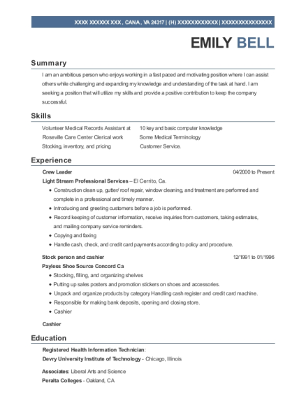 Crew Leader resume template Virginia