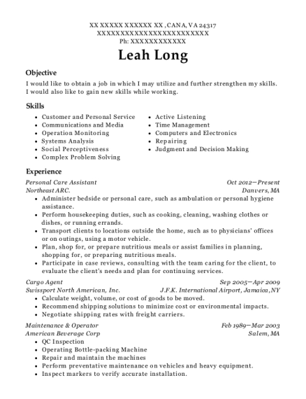 Personal Care Assistant resume template Virginia