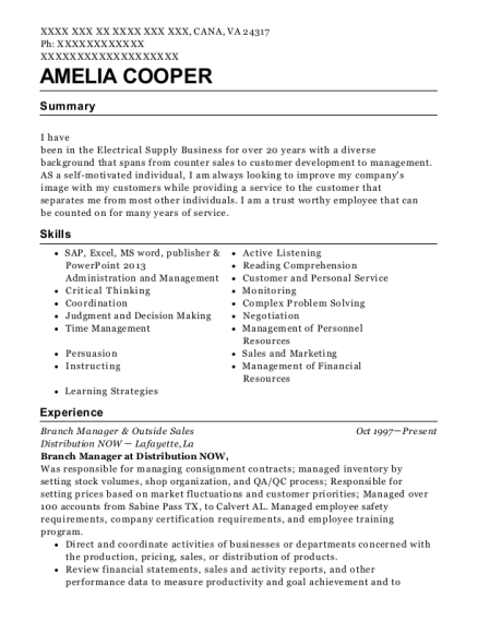 Branch Manager & Outside Sales resume template Virginia
