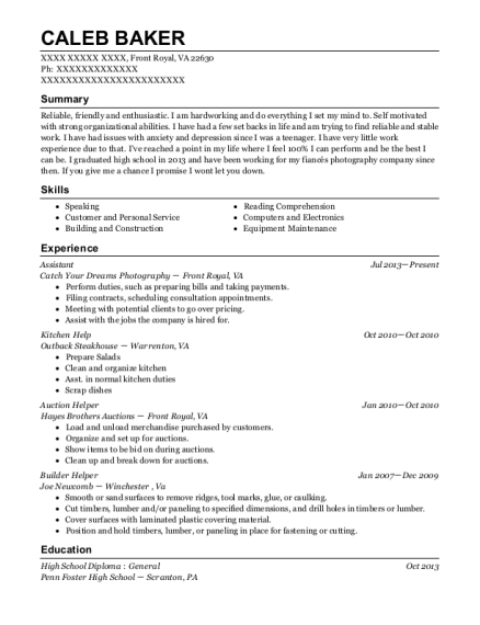 Assistant resume example Virginia