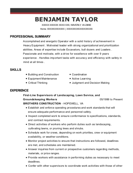 First Line Supervisors of Landscaping resume sample Virginia