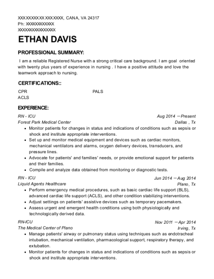 RN ICU resume sample Virginia