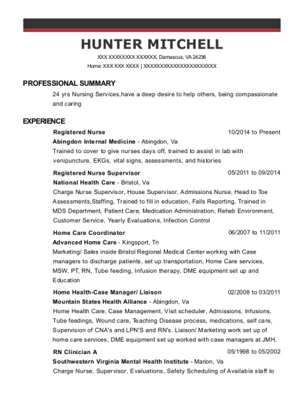 Registered Nurse resume example Virginia