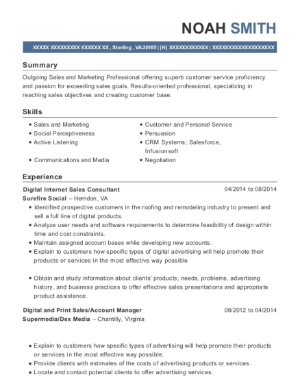 Digital Internet Sales Consultant resume example Virginia