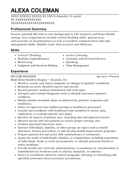 RN CASE MANAGER resume format Virginia