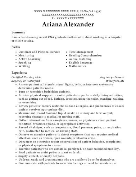 Certified Nursing Aide resume example Virginia