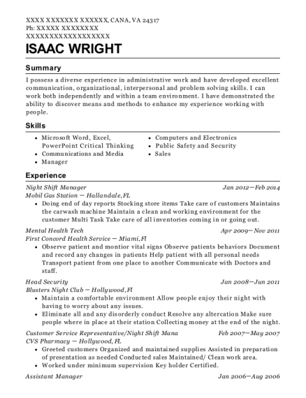 Night Shift Manager resume template Virginia