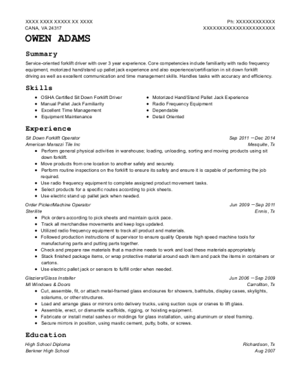 Sit Down Forklift Operator resume example Virginia