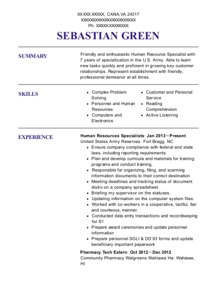 Human Resources Specialists resume template Virginia