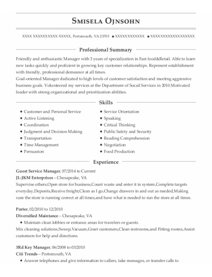Guest Service Manager resume format Virginia