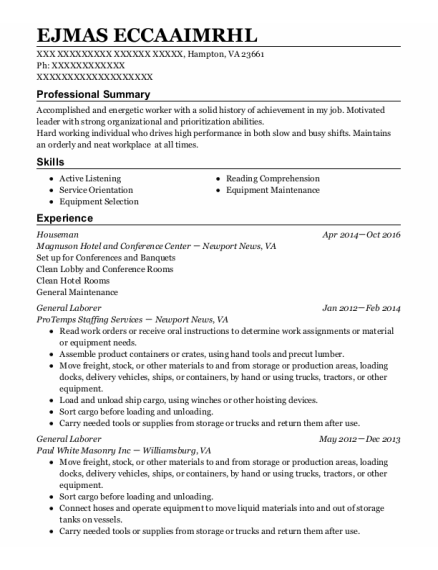 Houseman resume example Virginia