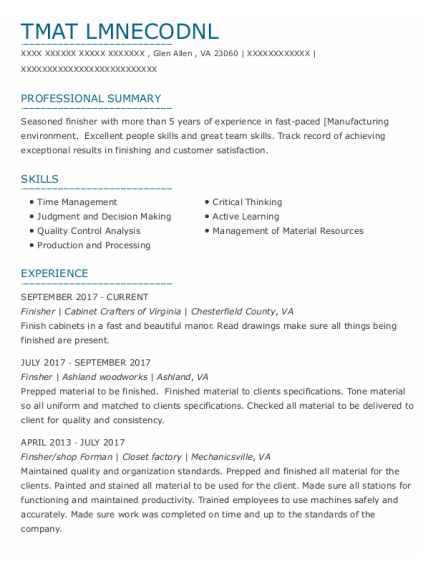 Shop Forman resume template Virginia