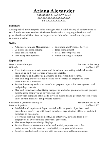 Department Manager resume format Virginia
