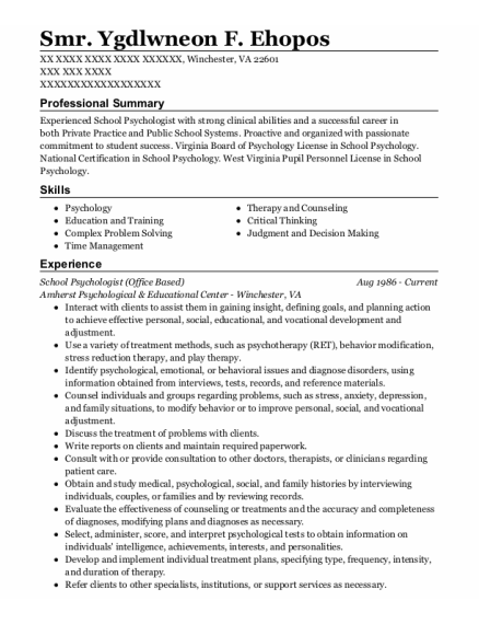School Psychologist resume format Virginia