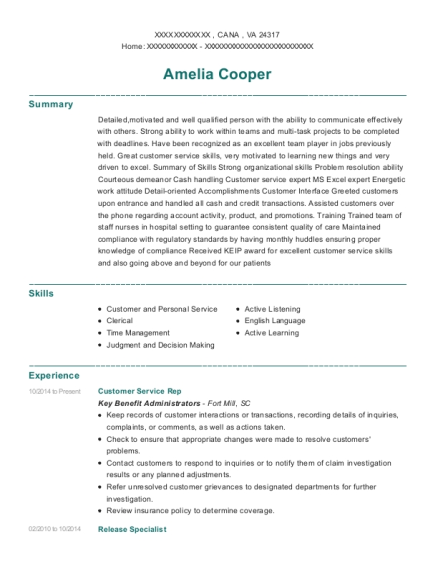 Customer Service Rep resume example Virginia