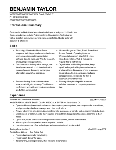 Patient Care Coordinator Assistant resume sample Virginia