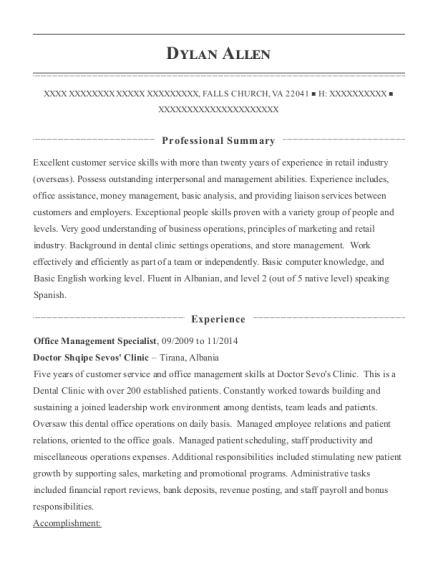 Office Management Specialist resume example Virginia