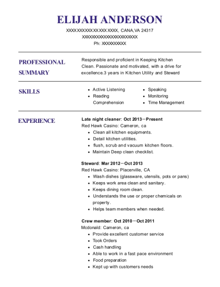 Late night cleaner resume template Virginia