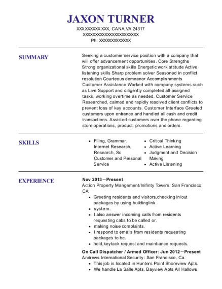 On Call Dispatcher resume template Virginia
