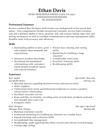 hair stylist resume template Virginia