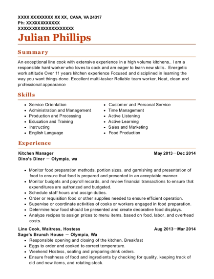 Kitchen Manager resume format Virginia