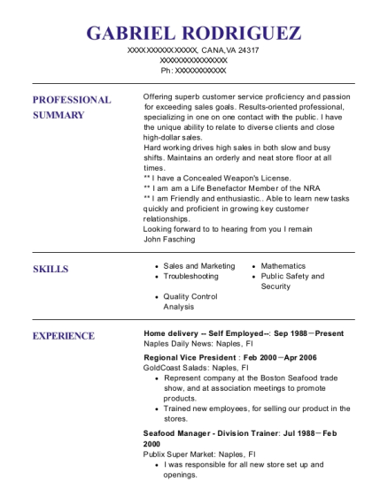 Home delivery Self Employed resume template Virginia
