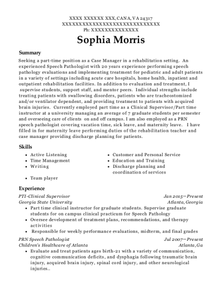 PTI Clinical Supervisor resume example Virginia