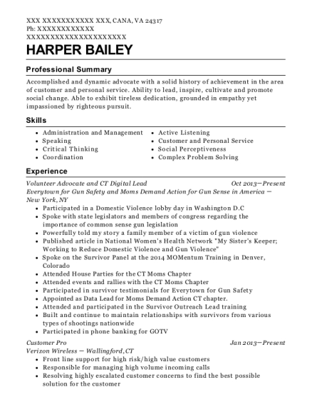Volunteer Advocate and CT Digital Lead resume format Virginia