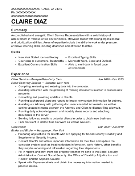 Client Services Manager resume template Virginia