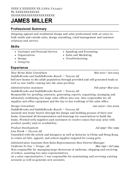 New Home Sales Consultant resume sample Virginia