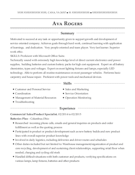 Commercial Sales resume template Virginia