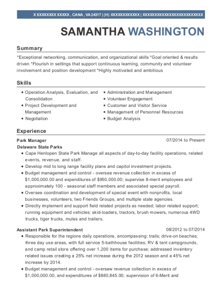 Park Manager resume example Virginia