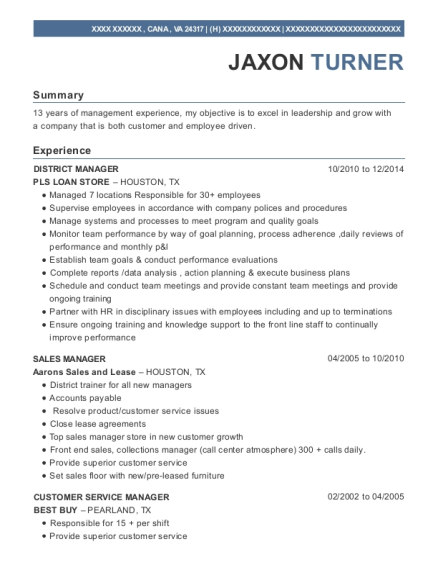District Manager resume sample Virginia