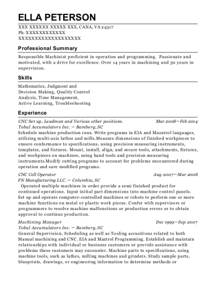 CNC Set up resume format Virginia