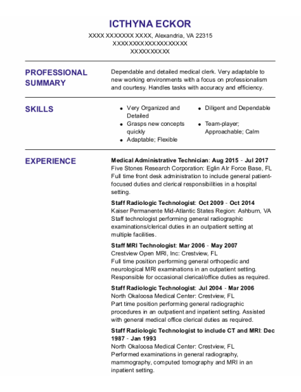 Staff Radiologic Technologist resume template Virginia