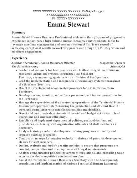 Assistant Territorial Human Resources Director resume example Virginia