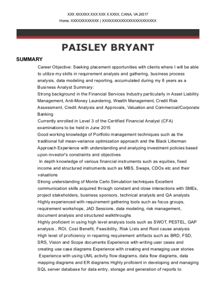 Senior Business Analyst resume sample Virginia