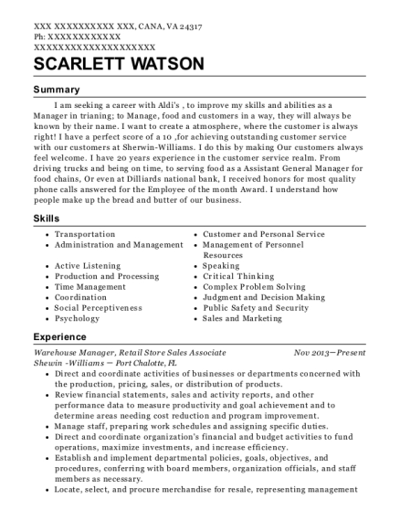 Warehouse Manager resume example Virginia