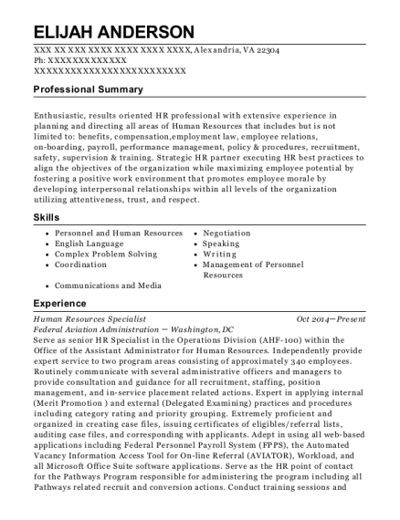 Human Resources Specialist resume format Virginia