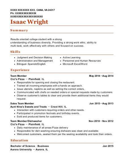Team Member resume format Virginia