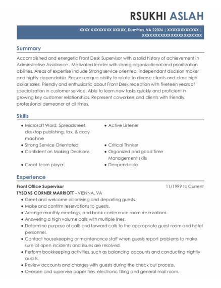 Front Office Supervisor resume sample Virginia