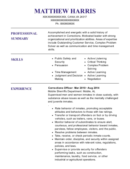 Corrections Officer resume template Virginia