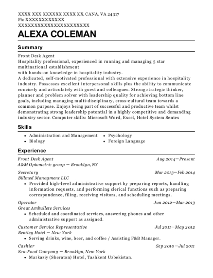 Front Desk Agent resume template Virginia