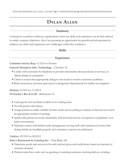 Customer Service Rep resume template Virginia